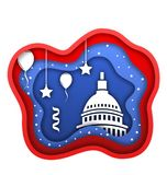 Cut Paper Background for Fourth of July Independence Day of the USA, Capitol, Ballons, Confetti Royalty Free Stock Image