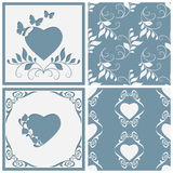 Cut paper frame in the form of heart. Two seamless pattern for any design. stock illustration