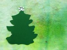 Cut from paper green Christmas tree stock images