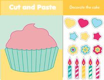 Cut and paste children educational game. Paper cutting activity. Decorate a cupcake with glue and scissors. Stickers game for todd. Lers Royalty Free Stock Photos