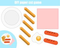 Cut and paste children educational game. Paper cutting activity. Make a food plate with glue. DIY worksheet. Cut and paste children educational game. Paper vector illustration