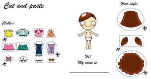 Cut and paste dress doll. Cut and paste game for little girls with a cute doll to dress Stock Image