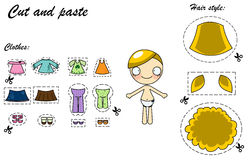 Cut and paste dress doll. Cut and paste game for little girls with a cute doll to dress Stock Photos