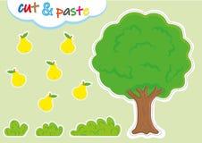 cut-and-pasteactiviteiten voor kleuterschool, peuter scherpe en het kleven aantekenvellen vector illustratie
