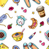 Cut pattern with fun things. Seamless pattern with cute isolated girl elementsin white background. Romantic sweet texture with women`s things, stickers, badges Stock Images