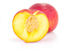 Cut peaches on a white background Stock Photography