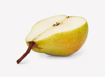 Cut pear. Half of ripe pear horizontally on a white background Stock Images
