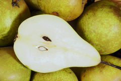 The cut pear Stock Photos