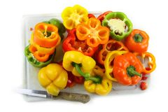 Cut pepper slices Stock Photography