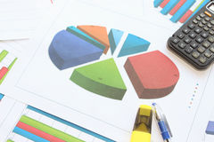 Cut the pie chart with data Royalty Free Stock Photography