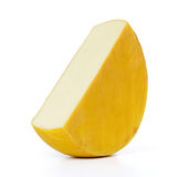 Cut piece of round cheese on white background. File contains a path to isolation. Royalty Free Stock Photography