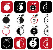 Cut into pieces of apple Stock Images