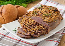 Cut pieces of baked meat Stock Image