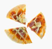Cut 3 pieces bread pizza Hawaiian on white Stock Photography