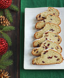 Cut into pieces Christmas Stollen on a plate Stock Images