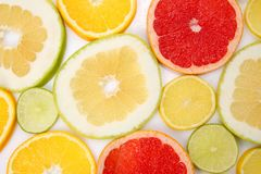 Cut pieces of different citrus fruits. The cut pieces of different citrus fruits royalty free stock photo