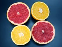 Cut pieces of different citrus fruits on dark background. The cut pieces of different citrus fruits on dark background royalty free stock photography