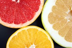 Cut pieces of different citrus fruits on white background. The cut pieces of different citrus fruits on white background royalty free stock photo