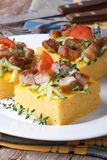 Cut into pieces of polenta with meat and vegetables Stock Images