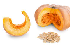 Cut pieces of pumpkin soup and slices and seeds. Stock Photo