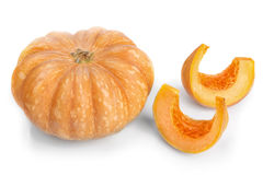 Cut pieces of pumpkin soup slices. Royalty Free Stock Images