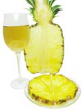 Cut pineapple and red white wine Royalty Free Stock Photography