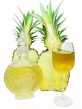 Cut pineapple and white wine Stock Image