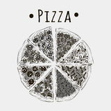 Cut pizzas into pieces of different kinds black on white Royalty Free Stock Photo