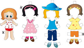 Cut and play. Cut out the clothes and wear them to the doll Stock Image