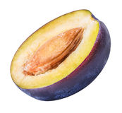 Cut plum fruit isolated on white background Stock Image