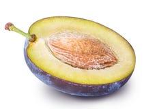 Cut plum fruit isolated on white background Royalty Free Stock Photo