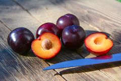 Cut plum fruits Royalty Free Stock Photo