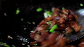 Cut pork in a chopping board. Close up stock footage