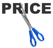 Cut the price. 3d generated picture of a cut the price concept royalty free illustration