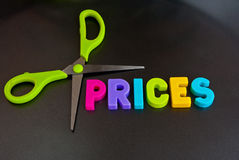 Cut prices. Text ' prices ' in uppercase text with blades of  a pair of scissors indicating cutting. Concept of price cutting and possible logo Royalty Free Stock Photography