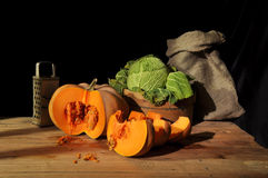 Cut pumpkin Stock Images