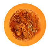 Cut pumpkin isolated on white with clipping path Royalty Free Stock Images