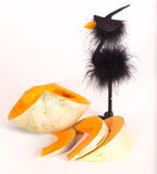 The cut pumpkin and toy crow in a hat of the witch Royalty Free Stock Image