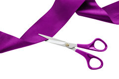 Cut purple ribbon Royalty Free Stock Photography