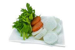Cut radish, carrot and celery for cooking soup Stock Photo