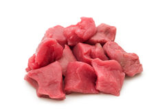Cut raw beef filet. On white royalty free stock photo