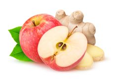 Isolated apple and ginger Stock Photo