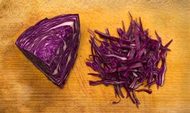 Cut of Red Cabbage on Cutting Board. Cut of Red Cabbage  Top View. Fresh Healthy Vegetable on Cutting Board Royalty Free Stock Image