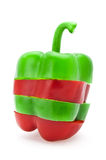 The cut red and green pepper Stock Photography