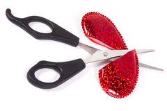Cut a red heart Stock Image