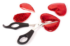 Cut a red hearts Stock Photos
