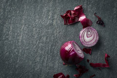 Cut red onion background Stock Images