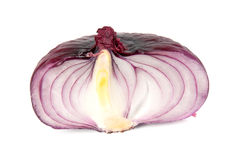 Cut red onion isolated on white. Background with shadow Stock Photography