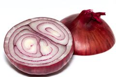 cut red onion on white background Royalty Free Stock Photos