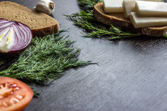 Cut red onions, tomato, dill, lard salo and garlic on  wooden table. Small depth of focus. Royalty Free Stock Photos